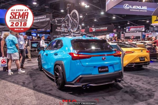 Lexus UX 250h ux200 ux250 base model 2018 2019 2020 2021 rear spats lip kit as seen at sema show 2018 Nia Auto Design rear splitter body kit